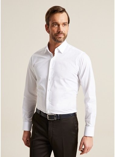 Bisse GM19K92195 Regular Fit Düz Klasik Gömlek Beyaz